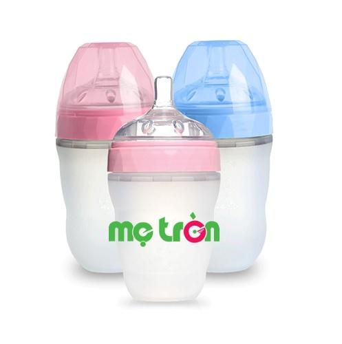 Bình sữa Silicone Gluck MMD 240ml 2 màu xanh và hồng