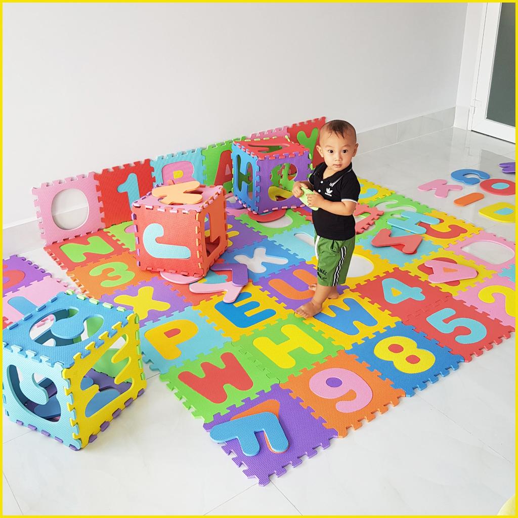 Thảm xốp cho bé 30x30x1cm - Bộ 36 tấm ( 26 chữ cái từ A-Z + 10 bộ chữ số từ 0-9)