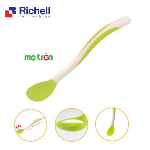 Thìa ăn cháo cho bé Richell 2 màu xanh lơ hoặc xanh lá - nhựa PP cao cấp