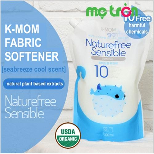 Nước xả vải hữu cơ K-Mom Hàn Quốc dạng túi màu xanh 1300ml được nhập khẩu trực tiếp từ Hàn Quốc với dung tích 1300ml tiện lợi và tiết kiệm cho mẹ khi sử dụng, điều chế từ các nguyên liệu sạch được chứng nhận từ USDA là các thành phần Organic (chứng nhận hữu cơ) bảo vệ làn da bé.