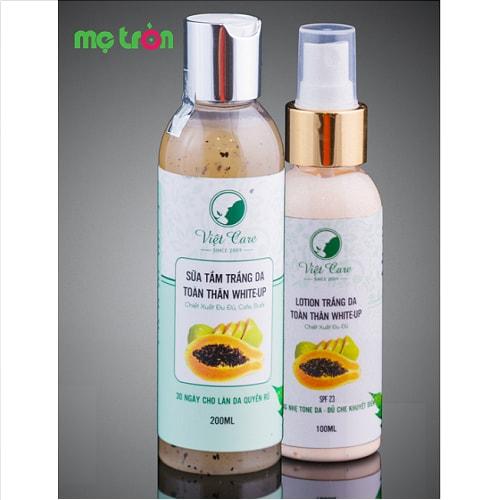 Lotion trắng da toàn thân White-up Việt Care là sản phẩm tự nhiên đảm bảo chất lượng thuộc thương hiệu của người Việt được tổng hợp từ những phương thức làm trắng dân gian mang lại hiệu quả cao trong việc giúp cho da bạn trở nên tươi sáng sau sinh.