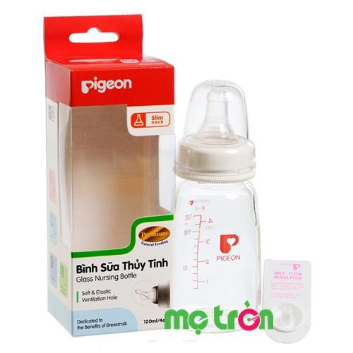 Bình sữa Pigeon 120ml (thủy tinh, không BPA) được làm bằng nhựa cao cấp, hợp vệ sinh, an toàn cho bé, có thể diệt khuẩn bằng lò vi sóng, dễ dàng sử dụng. Núm ty silicone có hệ thống van thông khí (AVS) giúp hạn chế tối đa sự đầy hơi khi bé nuốt phải bọt khí vào bụng.