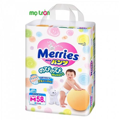 Tã quần Merries size M (58 miếng) chất liệu mềm mại