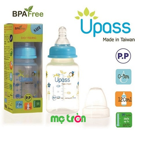 Bình sữa Upass 120ml cổ thường không BPA UP06401CC (xanh dương và xanh lá) có van thông khí sẽ giúp hạn chế tối đa sự đầy hơi khi bé nuốt phải bọt khí vào bụng đồng thời giảm thiểu những cơn sặc sữa, đảm bảo sức khỏe và sự phát triển toàn diện của bé yêu. Bên cạnh đó, với chất liệu nhựa PP cao cấp, hoàn toàn không chứa BPA đảm bảo an toàn cho sức khỏe của bé.