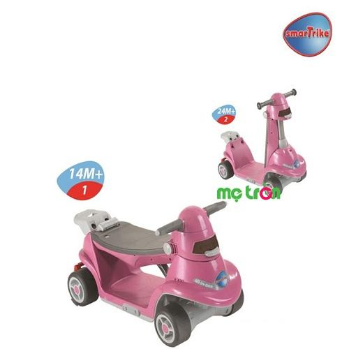 Xe chòi chân thiết kế thông minh AIO Smart-Trike màu hồng là dòng xe cho em bé đa năng, có thể chuyển đổi từ một chiếc xe chòi chân nhanh chóng sang chiếc xe scooter năng động một cách linh hoạt theo độ tuổi phát triển của bé.