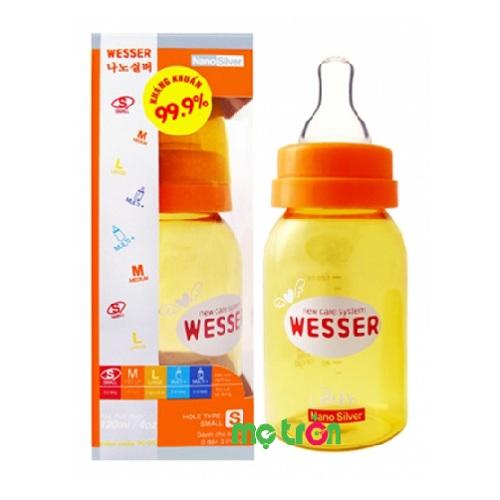 Bình sữa Nano Silver Wesser 120ml với thiết kế chống đầy hơi cho bé là sản phẩm chất lượng cao cấp của thương hiệu Wesser Hàn Quốc. Với khả năng kháng khuẩn đến 99,9% giúp đảm bảo an toàn tuyệt đối cho sức khỏe của bé.