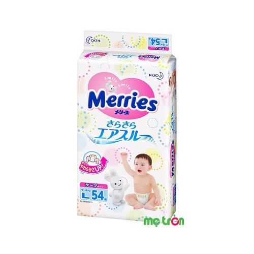 Tã dán Merries size L (54 miếng) cho bé 9-14kg siêu thông thoáng
