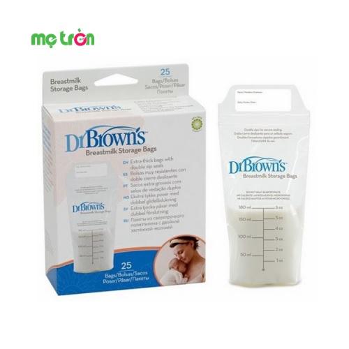Hộp 25 túi trữ sữa Dr Brown's 180ml cao cấp là vật dụng cần thiết hỗ trợ đắt lực cho các bà mẹ đang trong giai đoạn nuôi con. Sản phẩm được làm từ chất liệu an toàn, không BPA, đảm bảo cung cấp đầy đủ  lượng sữa mẹ giàu dinh dưỡng cho bé trong suốt 24/24 giờ.