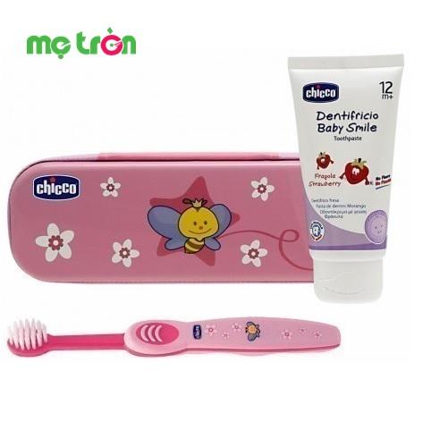 Bộ chăm sóc răng miệng 3 in 1 Chicco hình chú ong hồng
