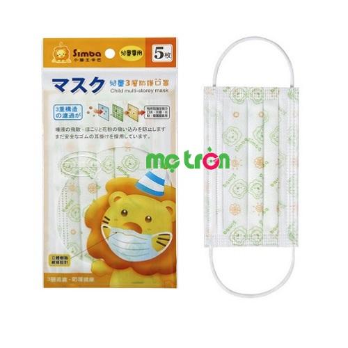 Khẩu trang 3 lớp bảo vệ dành cho bé Simba hộp 5 cái S9518 gồm có 2 size