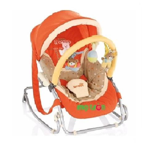Ghế bập bênh có đồ chơi và mái che Brevi BRE558C có 2 màu xanh đen và màu cam cho mẹ lựa chọn, là một chiếc ghế ăn tiện dụng. Ghế vừa bập bênh, vừa có mái che và đồ chơi mang lại sự thích thú cho bé.