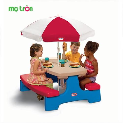 Bộ bàn ghế dã ngoại có dù Picnic Table Evergreen Little Tikes LT-403V00070