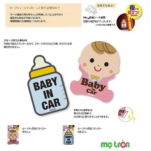 """Miếng dán cảnh báo: """"Baby in Car"""" phản quang hình em bé hoặc bình sữa"""