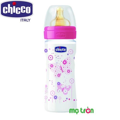 Bình sữa Welbeing núm cao su bướm hồng 250ml Chicco 114648
