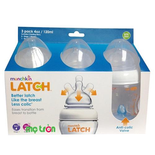 Bộ 3 bình sữa Munchkin Latch (8oz) thiết kế an toàn tiện dụng