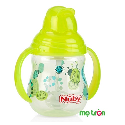 Bình uống nước Nuby hai tay cầm Pin Point 270ml (xanh lá, hồng, đỏ)