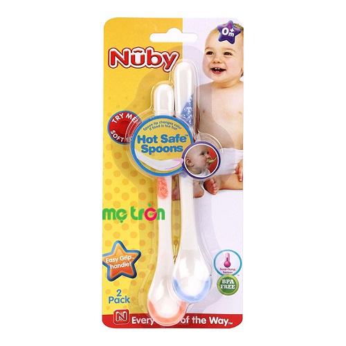 - Bộ 2 thìa cán dài báo nhiệt cho bé Nuby làm từ chất liệu nhựa cao cấp an toàn. - Thiết kế báo nhiệt tiện lợi khi thức ăn quá nóng. - Sản phẩm có độ bền cao.